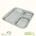 A Slice Of Green Square Stainless Steel Divided Plate - 25Cm