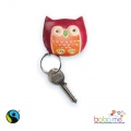 Fair Trade Handprinted Leather Owl Keyring Purse