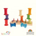 Grimms Stacking Game Large Bobbins, rainbow colours