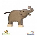 Holztiger Elephant, small, trunk raised