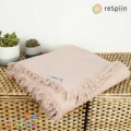 Respiin Plain Wool Throw with Fringe - Dusty Pink