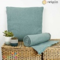 Respiin Zig Zag Wool Throw with Fringe - Aqua