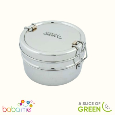 A Slice Of Green Chapra Two Tier Round Lunch Box