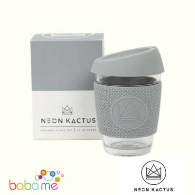 Neon Kactus Glass Cup - Forever Young - Grey - 12Oz/340Ml