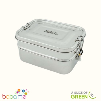 A Slice Of Green Buruni Leak Resistant Two Tier Lunch Box