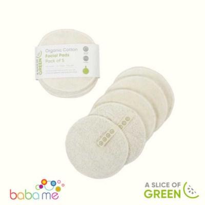 A Slice of Green Organic Cotton Facial Pads - Pack of 5