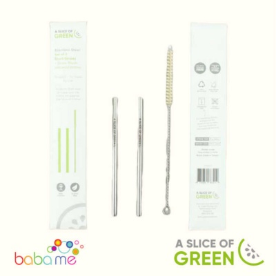 A Slice Of Green Set Of Two Stainless Steel Mini Straws And Brush