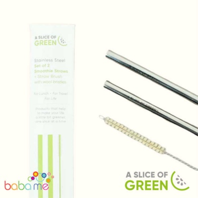 A Slice Of Green Set Of Two Stainless Steel Smoothie Straws And Brush