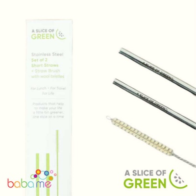 A Slice Of Green Set Of Two Stainless Steel Straws And Brush