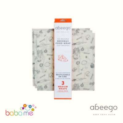 Abeego Beeswax Wraps Medium Pack - 3 Flats