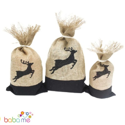 Jute Danish Pouch Set of 3 Black & Reindeer