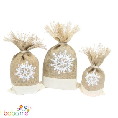 Jute Danish Pouch Set of 3 White & Snowflake