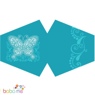 Reusable Fashion Mask Blue Butterfly (Adult)