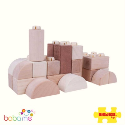 Bigjigs Click Blocks - Natural - 100pce