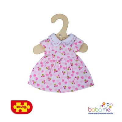 Bigjigs Pink Dress With Pink Hearts Small
