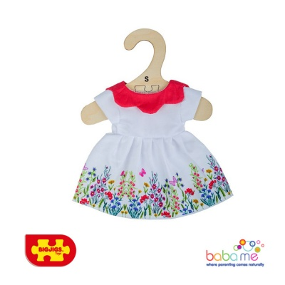 Bigjigs White Floral Dress With Red Collar Small
