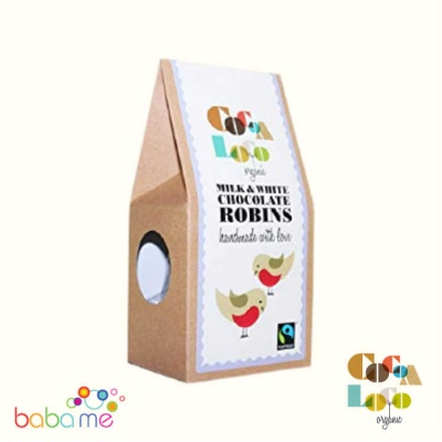 Cocoa Loco - Organic Milk & White Chocolate Robins 100g