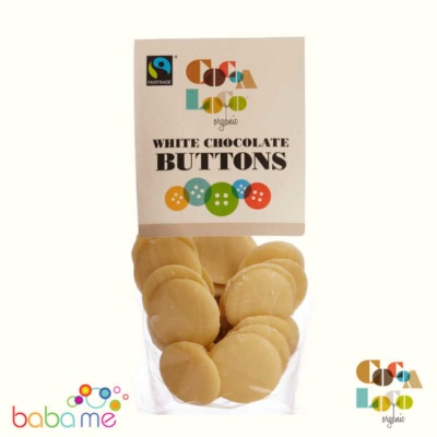 Cocoa Loco Organic White Chocolate Buttons 100g