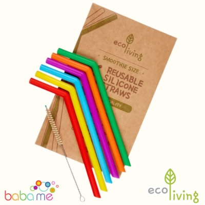 Eco Living 6 Silicone Straws Extra Wide