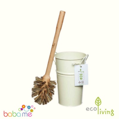 Eco Living Plastic Free Toilet Brush & Holder Set - Large Brush
