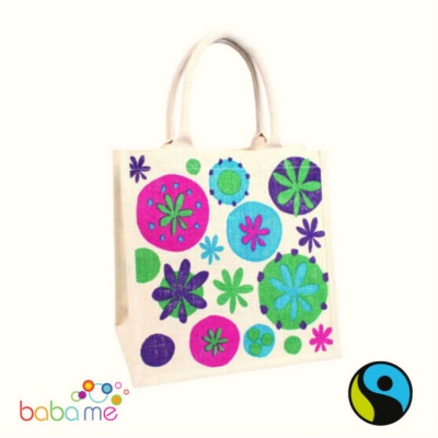 Floral Natural Jute Bag - Medium