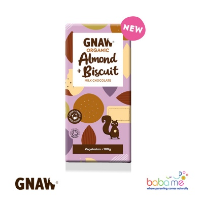 Gnaw Organic Almond & Biscuit Milk Chocolate Bar