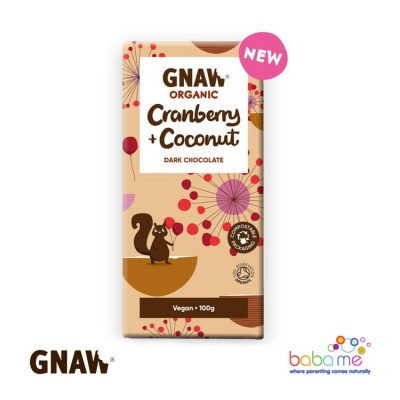 Gnaw Organic Dark Chocolate with Cranberries & Coconut