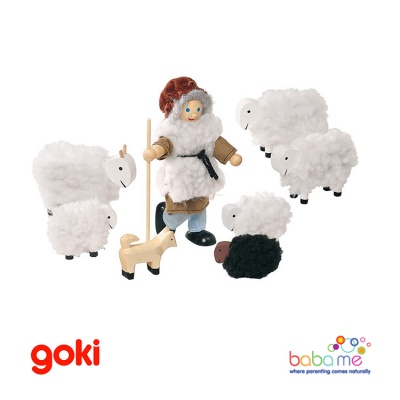 Goki Flexible Puppets Shepherd With Sheep