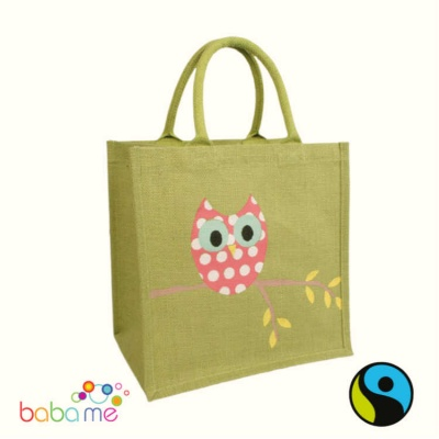 Green Owl Jute Shopping Bag