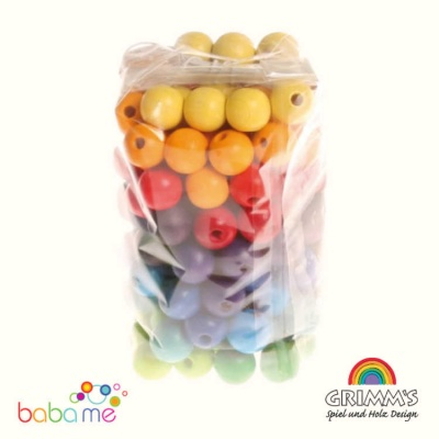 Grimms 120 Coloured Wooden Beads, 12mm