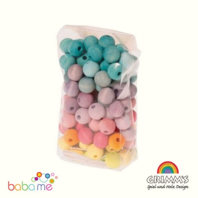 Grimms 120 Wooden Beads pastel