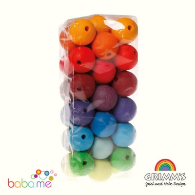 Grimms 36 Coloured Beads 30mm