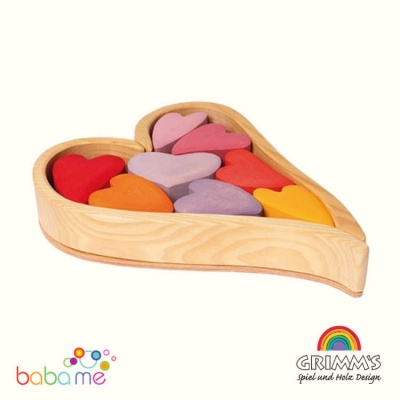 Grimms Building Set Red Hearts