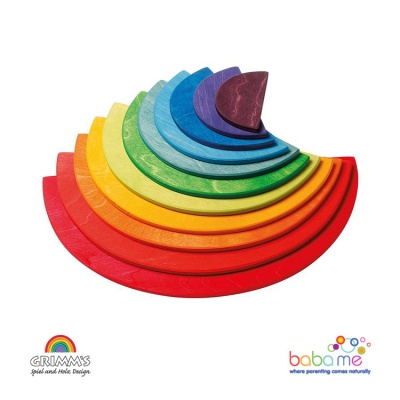 Grimms Large Semicircles, rainbowcolours, 11 pieces