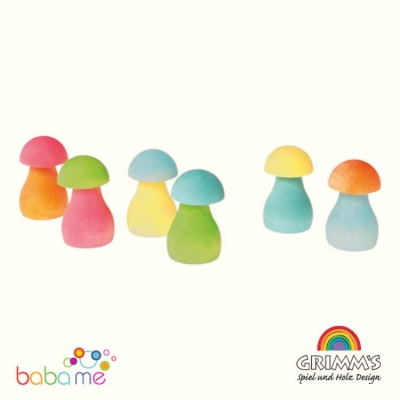 Grimms Sorting Game Rainbow Mushrooms, pastel