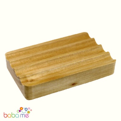 Hemu Wood Soap Dish Corrugated