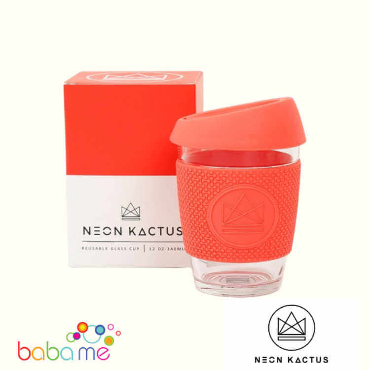 Neon Kactus Glass Cup - Dream Believer - Coral - 12Oz/340Ml