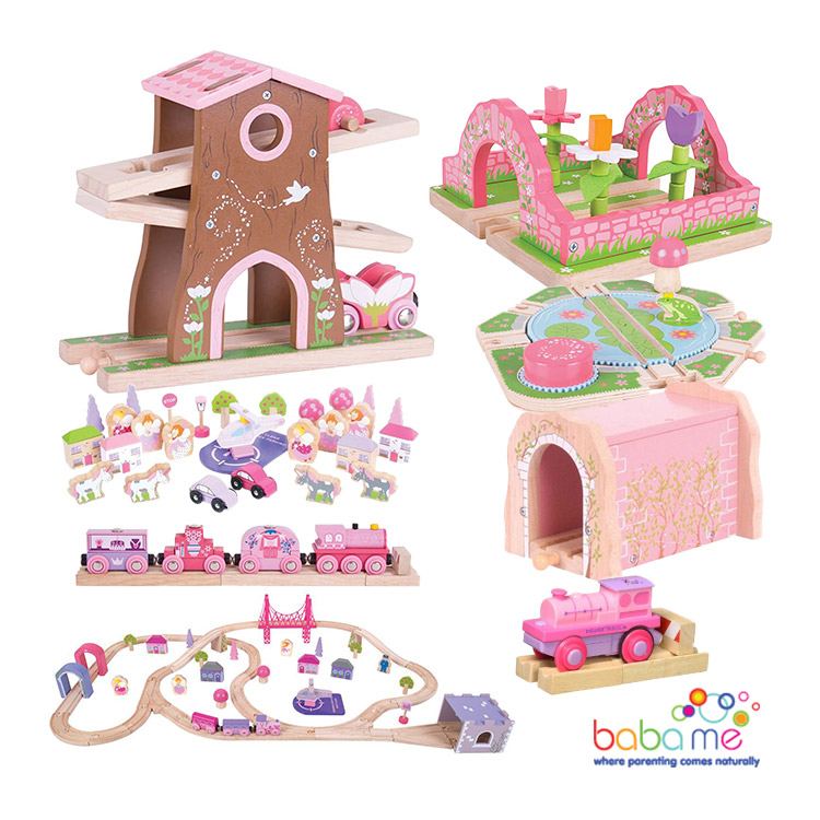 Big Jigs Fairy Town Wooden Train Set Bundle