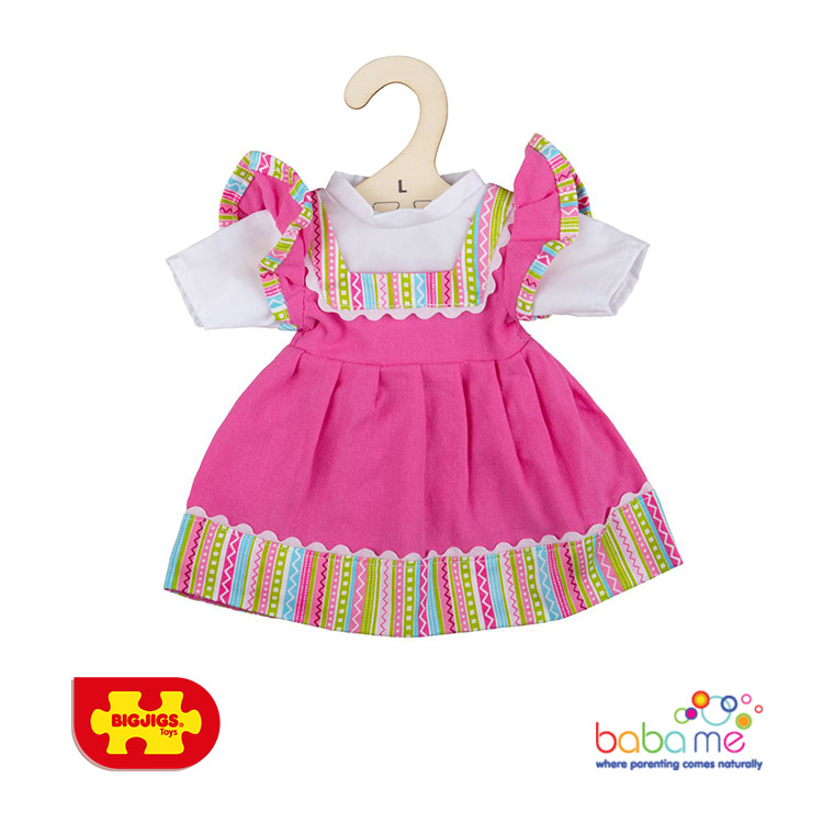 Bigjigs Pink Dress With Striped Trim Large