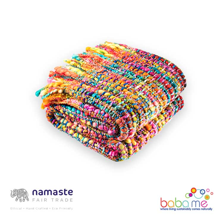 Namaste Soft Woven Rainbow Throw