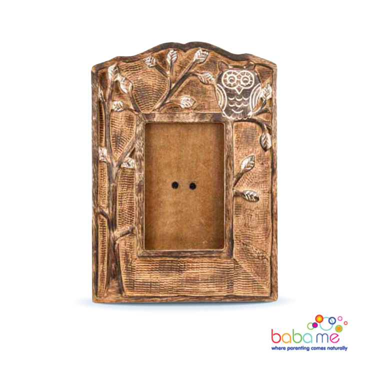 Owl mango wood photo frame