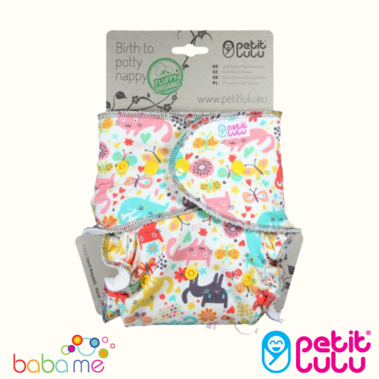 Reusable /& Washable Little Dolphins Snaps Made in Europe Fluffy Organic Petit Lulu Bamboo Fitted One Size Diaper