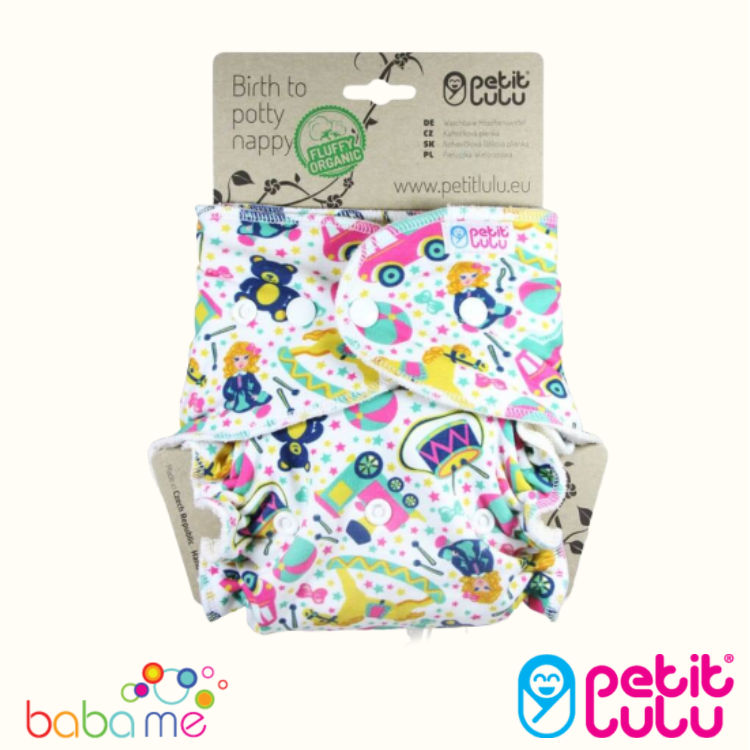 Petit Lulu Bamboo Fitted One Size Diaper Made in Europe Reusable /& Washable Animals on Trip Snaps