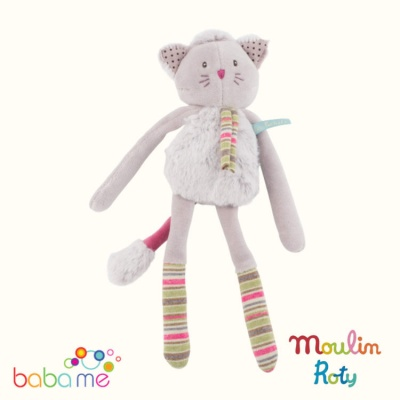 Moulin Roty Grey cat rattle