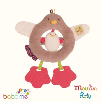 Moulin Roty Les Cousins du Moulin Hen ring rattle