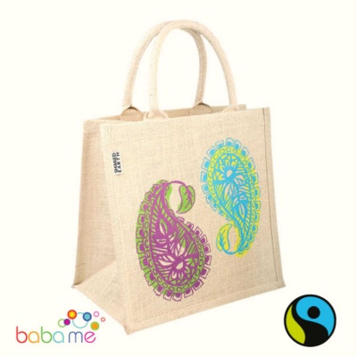 Natural Jute Shopper - Paisley