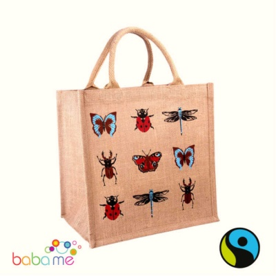 Natural Jute Shopper - Insects