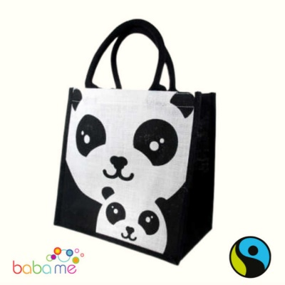 Panda & Baby Jute Shopping Bag