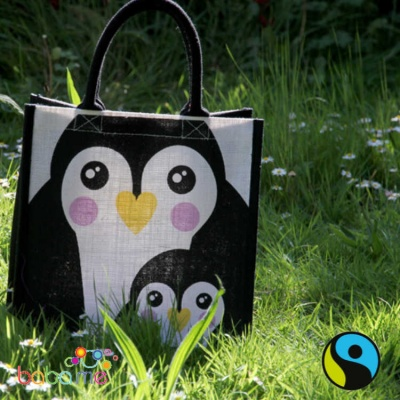 Printed Jute shopping bag - Penguin & baby