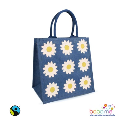 Printed Jute Shopping Bag - Large blue daisies